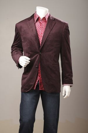 Men's Wine Velvet Blazer Regular Fit Vittorio Z822 Size 44L Final Sale