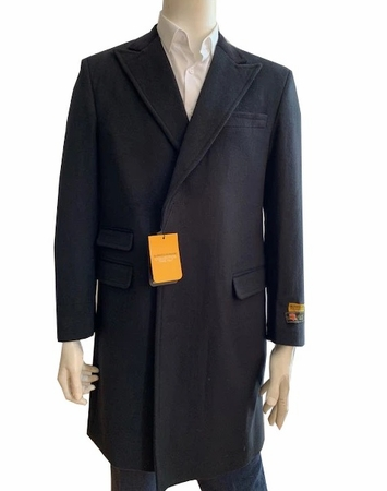 Men's Wool Car Coat Black Three Quarter Alberto Peaky-03 - click to enlarge