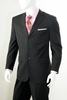 Men's Wool Suit Black Pinstripe 3 Button Regular Fit Alberto 3BVP-1 2pc