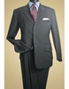 Men's Pinstripe Wool Suit Charcoal 3 Button Classic Fit Alberto 3BVP-1 2pc