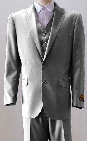 Mens 2 Button Style Wool Light Gray 3 Piece Suits Alberto 2BV1P