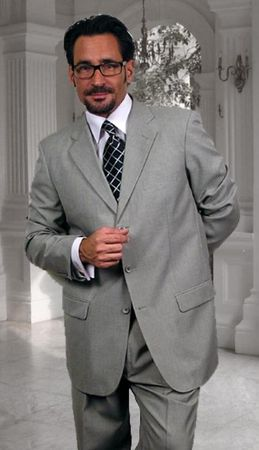 Men's Wool Suit Gray 3 Button Type Vented Jacket Regular Style Fit Alberto 3BVP-1 2pc - click to enlarge