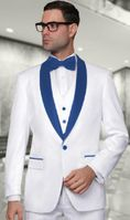 Mens Modern Fit White/Royal 3 Piece Shawl Collar Wool Tuxedo Alberto Nardoni Tux-SH