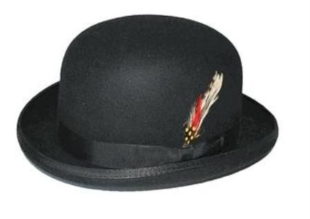 Mens 100% Wool Black Bowler Derby Dress Hat 4745