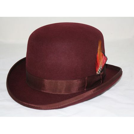 Mens 100% Wool Burgundy Bowler Derby Dress Hat 4745 USA Size S,L
