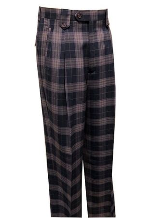 Tiglio Men's Wool Plaid Wide Leg Pants Navy Lavender RS3000/1 - click to enlarge