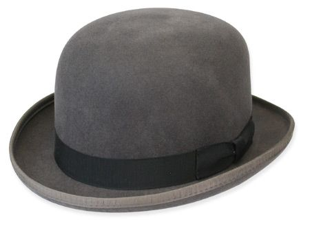 Mens 100% Wool Gray Bowler Derby Dress Hat 4745