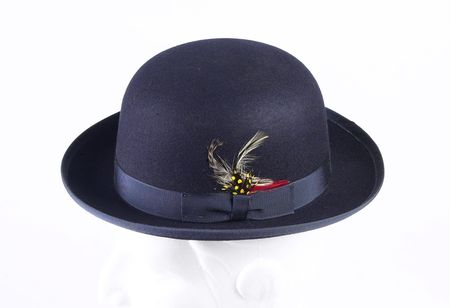 Mens 100% Wool Navy Bowler Derby Dress Hat 4745 - click to enlarge