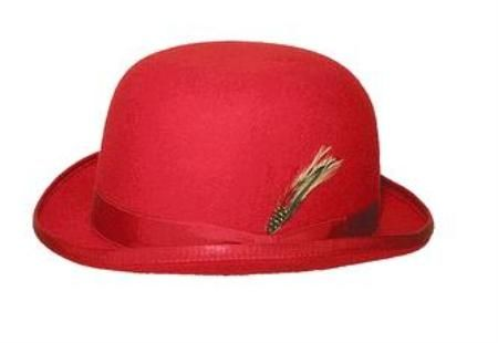 Mens 100% Wool Red Bowler Derby Dress Hat 4745