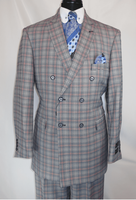Mens 1930s Gangster Style Blue Plaid Double Breasted Suit EJ M2704