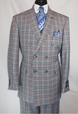 Mens 1930s Gangster Style Blue Plaid Double Breasted Suit EJ M2704 - click to enlarge