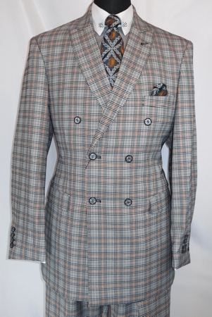 Mens 1930s Gangster Style Double Breasted Black Plaid Suit EJ M2704 - click to enlarge