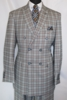Mens 1930s Gangster Style Double Breasted Black Plaid Suit EJ M2704