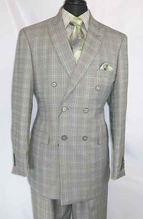 Mens 1930s Gangster Style Green Plaid Double Breasted Suit EJ M2704 - click to enlarge