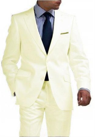 Mens 2 Button Ivory Cream Suit Super 150s Pleated Pants 2TR - click to enlarge