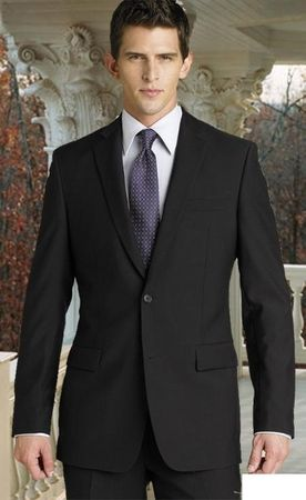 Men's 2 Button Solid Black Suit Super 150s Pleated Pants 2TR