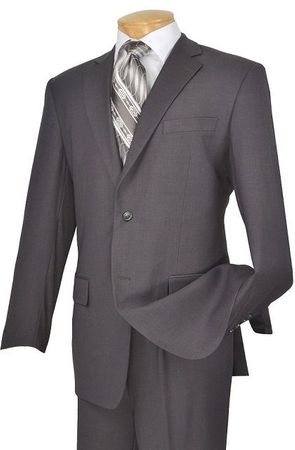 Mens 2 Button Solid Gray Suit Super 150s Pleated Pants 2TR