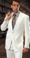 Mens Solid White Suit Super 150s Pleated Pants 2TR