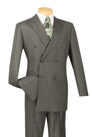 Vinci Men's Charcoal Gray 1930s Banker Stripe Double Breasted Suits DSS-4