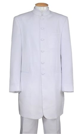 White Chinese Collar Suit Mandarin Long Jacket Milano 6905H - click to enlarge