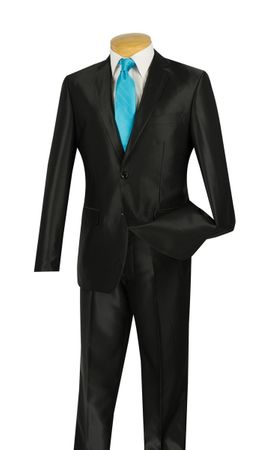 Vinci Men's Black Shiny Sharkskin Slim Fit Suit S2RK-5