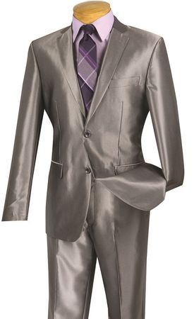 Vinci Men's Shiny Gray Slim Fit Suit Skinny Style S2RK-5