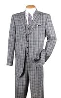 Fortino Mens Black Plaid 1920s Style 3 Piece Fashion Suit 5802V6