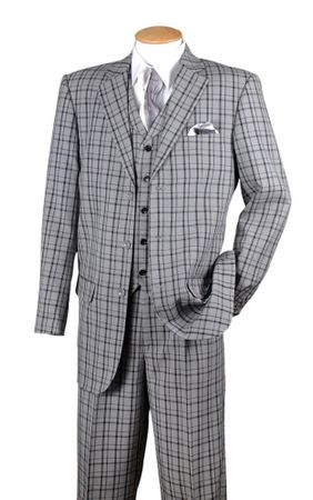 Fortino Mens Black Plaid 1920s Style 3 Piece Fashion Suit 5802V6 - click to enlarge