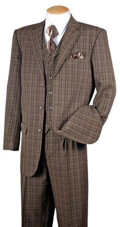 Fortino Mens Brown Plaid 1920s Style 3 Piece Fashion Suit 5802V6
