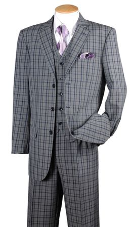 Fortino Mens Navy Plaid 1920s Style 3 Piece Fashion Suit 5802V6