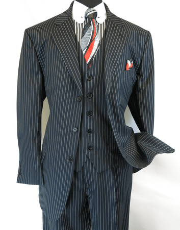Mens 3 Piece Suit Black White Stripe Pleat Pants Milano 5802V7