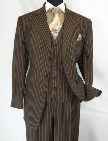 Mens 3 Piece Suit Brown Stripe Side Vents Milano 5802V7 - click to enlarge