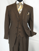 Mens 3 Piece Suit Brown Stripe Pinstripe 1920s Style Side Vents Milano 5802V7