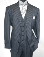 Mens 3 Piece Suit Gray Stripe Side Vents Milano 5802V7