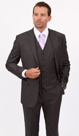 Mens 3 Piece Suit Dark Gray Wedding Style Demantie M302-13 - click to enlarge