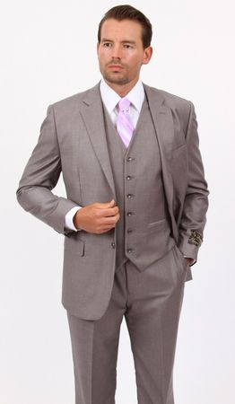 Mens 3 Piece Suit Light Gray Wedding Style Demantie M302-05 - click to enlarge