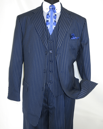 Mens 3 Piece Suit Navy Blue Stripe Pleated Pants Milano 5802V7 - click to enlarge