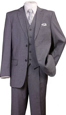 Men's 3 Piece Suit Gray Pinstripe Regular Fit Fortini 5702V8