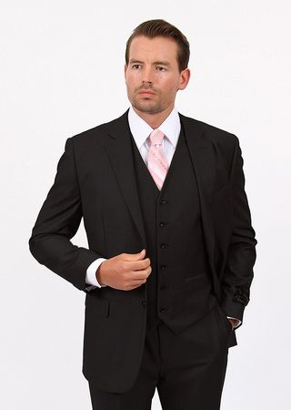 Mens 3 Piece Suit Solid Black Wedding Style Demantie M302-01 - click to enlarge