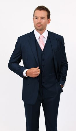 Mens 3 Piece Suit Solid Navy Wedding Style Demantie M302-02 - click to enlarge