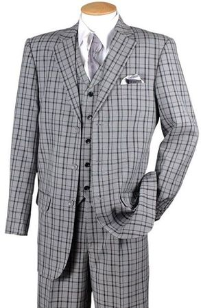 Fortino Mens Black Plaid 1920s Style 3 Piece Fashion Suit 5802V6 Size 44R Final Sale