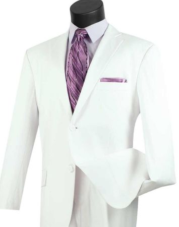 Mens White Single Breasted Suit 2TR Size 48R Final Sale