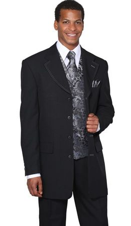 Mens Dress Suits by Milano Moda Black Grey Fancy Vest 3 Piece 6903V