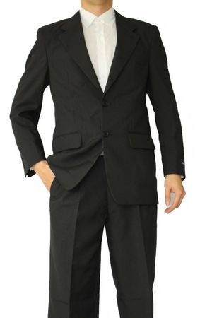 Mens Basic Black Suit 2 Button Single Breast Lucci 2PP
