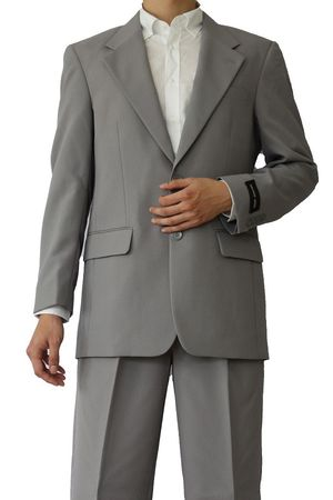 Mens Basic Suit Grey 2 Button Single Breast Fortini 702P 2PP