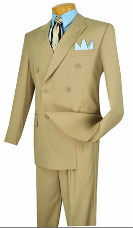 Double Breasted Suit Men's Beige Pleated Pants Vinci DC900-1