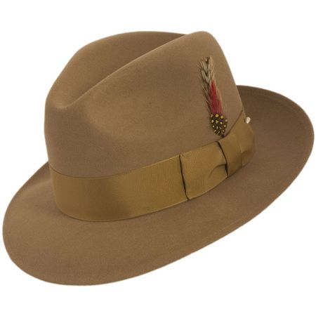 Mens Beige Fedora Hat 100% Wool Untouchable Brim Hats 8345