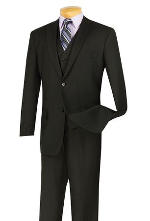 Vinci Mens Black 3 Piece Suit 2 Button Jacket V2TR