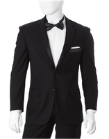 Mens Black 2 Button Regular Fit Tuxedo Side Vents Vittorio Y622W