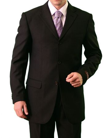Mens Black 3 Button Suit Pleated Pants Tazio M103 - click to enlarge
